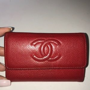 RED CHANEL WALLET\CARD CASE